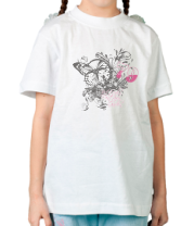 Детская футболка  Бабочка и цветы