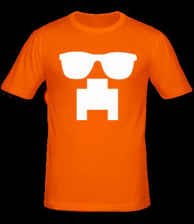 Мужская футболка  Minecraft logo в очках
