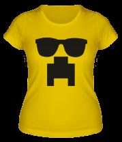 Женская футболка  Minecraft logo в очках