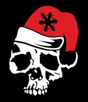Детская футболка  Череп в новогодней шапочке