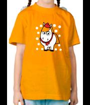 Детская футболка  Лошадка в снегу