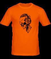 Мужская футболка  Череп в наушниках