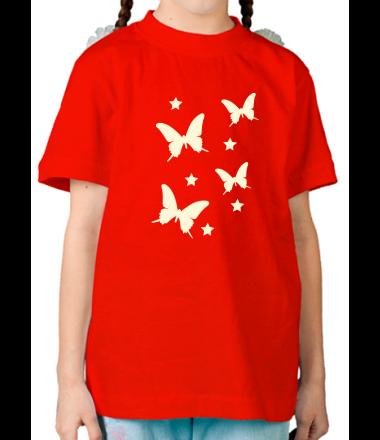 Детская футболка  Бабочки glow