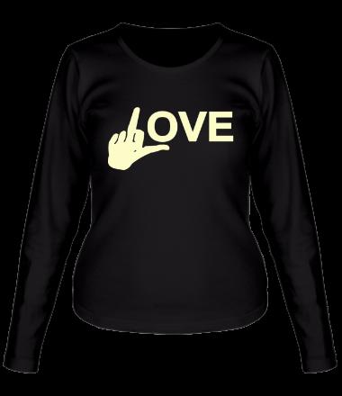 Женская футболка с длинным рукавом Fuck love glow
