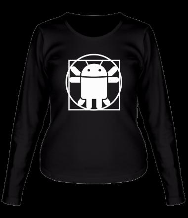 Женская футболка с длинным рукавом Андроид давинчи
