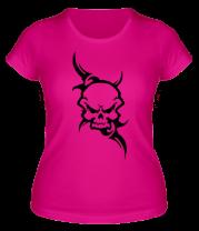 Женская футболка  Череп в стиле тату