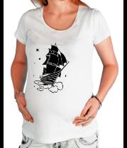 Футболка для беременных Корабль в небе