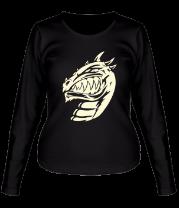 Женская футболка с длинным рукавом Зубастый ящер (свет)