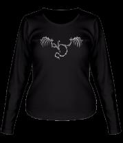 Женская футболка с длинным рукавом Тату - скелет дракона
