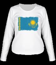 Женская футболка с длинным рукавом Флаг Казахстана