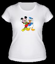 Женская футболка  Микки Маус и Дональд Дак