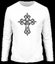 Мужская футболка с длинным рукавом Готический крест в тату стиле
