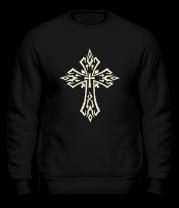 Толстовка без капюшона Готический крест в тату стиле (свет)