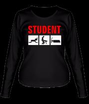 Женская футболка с длинным рукавом Student