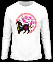 Мужская футболка с длинным рукавом Коза и сакура