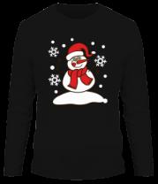 Мужская футболка с длинным рукавом Забавный снеговик