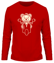 Мужская футболка с длинным рукавом Медведь на мотороллере (свет)