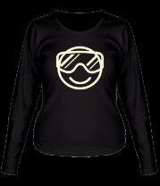 Женская футболка с длинным рукавом Сноубординг смайлик