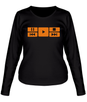 Женская футболка с длинным рукавом Play music