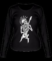Женская футболка с длинным рукавом Скелет с гитарой