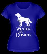 Женская футболка  Winter is coming собака с шарфом