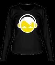 Женская футболка с длинным рукавом Смайл - парень в наушниках