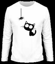 Мужская футболка с длинным рукавом Кот и паучок
