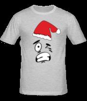Мужская футболка  Смайл в шапке Деда Мороза