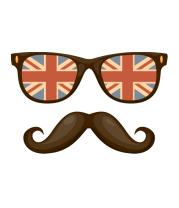 Детская футболка  Очки. Усы. Великобритания
