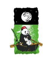 Толстовка без капюшона Панда в лодке