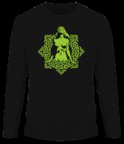 Мужская футболка с длинным рукавом Девушка в круге из кельтских узоров