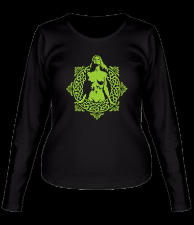 Женская футболка с длинным рукавом Девушка в круге из кельтских узоров