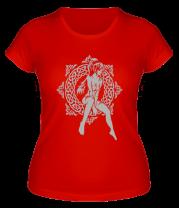 Женская футболка  Девочка в круге из кельтских узоров