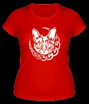 Женская футболка  Кот с кельтским узором