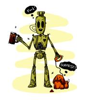 Женская футболка с длинным рукавом Робот с собачкой
