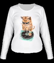Женская футболка с длинным рукавом Кот скретч-мастер