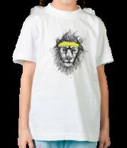 Детская футболка  Лев Хипстер