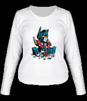 Женская футболка с длинным рукавом Оптимус прайм и лего