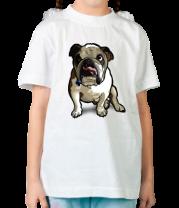 Детская футболка  Бульдог сидит