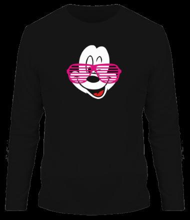 Мужская футболка с длинным рукавом Микки Маус в очках