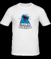 Мужская футболка  Cookie monster ест печеньку