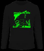 Мужская футболка с длинным рукавом Music is life