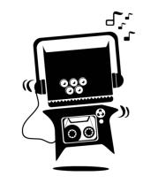 Женская футболка с длинным рукавом Монстр-магнитофон