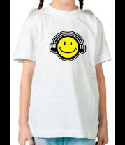 Детская футболка  Смайл в наушниках
