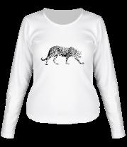 Женская футболка с длинным рукавом Леопард