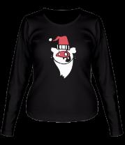 Женская футболка с длинным рукавом Свинья-санта