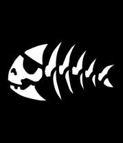 Футболка поло мужская Скелет рыбы