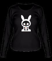 Женская футболка с длинным рукавом Скелет-заяц