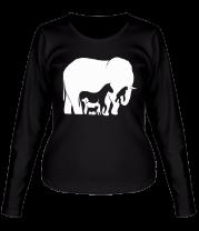 Женская футболка с длинным рукавом Слон-лошадь