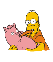 Женская футболка  Гомер и свинья